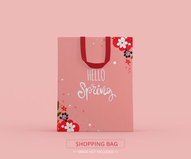Vista frontal de uma maquete de sacola de compras