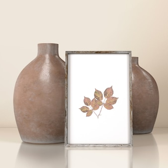 Vista frontal de vasos com decoração de moldura