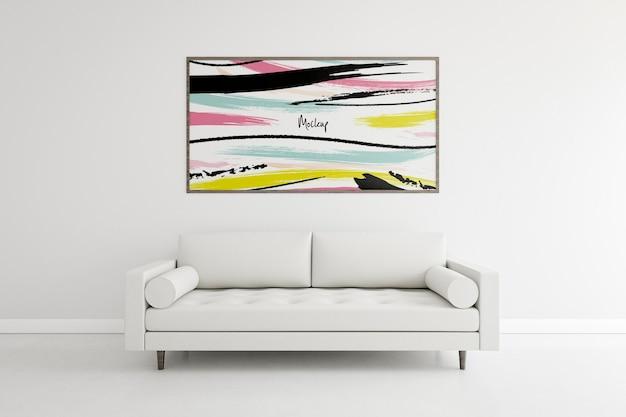 Vista frontal dentro de casa composição com maquete do quadro