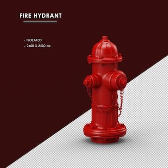 Vista frontal direita do hidrante vermelho isolado