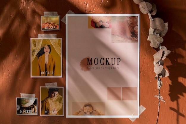 Vista frontal do mock-up de outono