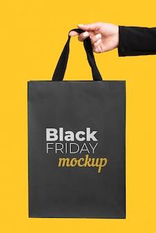 Vista frontal do mock-up do conceito black friday