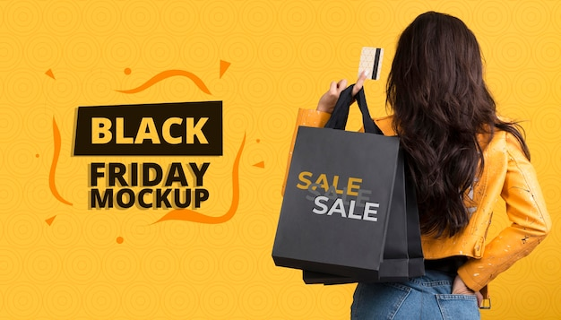 Vista frontal do mock-up do conceito black friday
