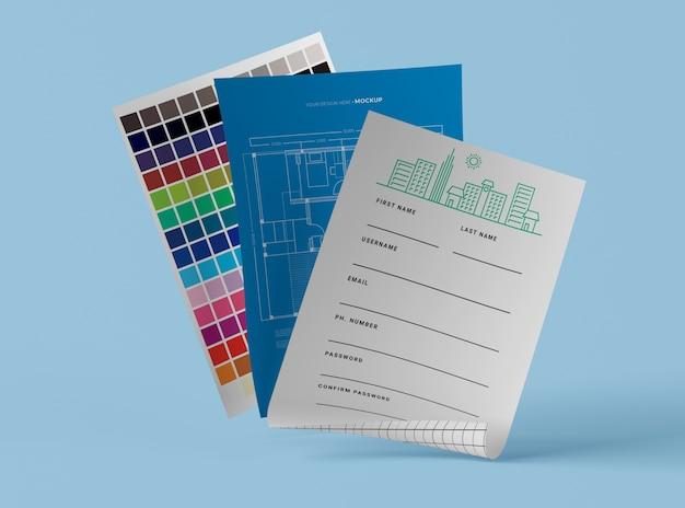 Vista frontal do modelo de papel de maquete e paleta