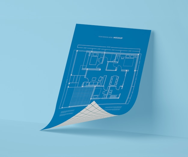 Vista frontal do modelo de papel de maquete
