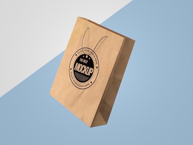 Vista frontal do modelo de sacola de papel de compras
