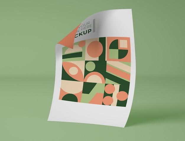 Vista frontal do papel com desenho geométrico
