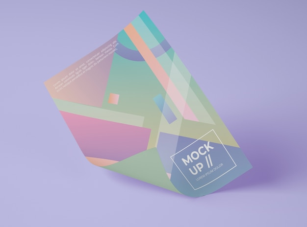Vista frontal do papel de mock-up com desenho geométrico