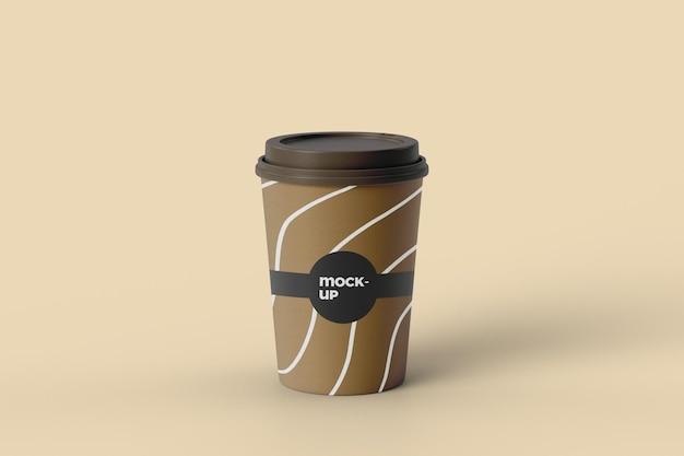 Vista frontal do projeto da maquete do copo de café em papel