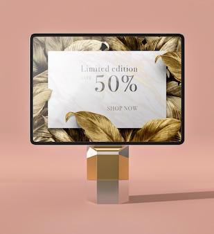 Vista frontal do tablet digital de maquete 3d