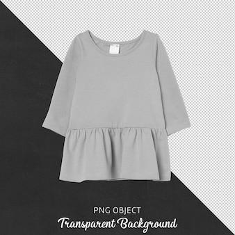 Vista frontal do vestido cinza básico infantil