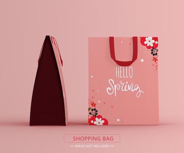 Vista frontal e maquete de duas sacolas de compras