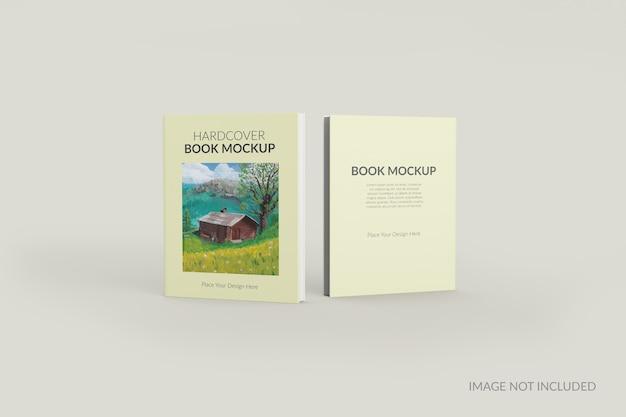 Vista frontal e traseira da maquete em pé do livro de capa dura
