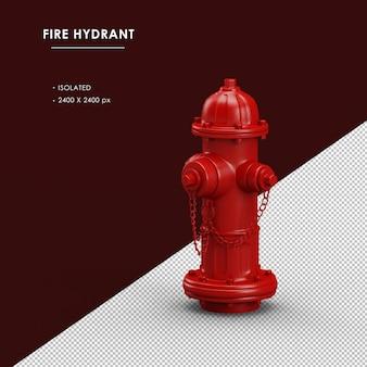 Vista frontal esquerda do hidrante vermelho isolado