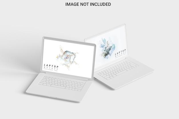Vista frontal isolada de dois modelos de laptop de argila