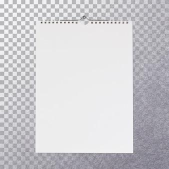 Vista frontal isolada em branco em branco calendário