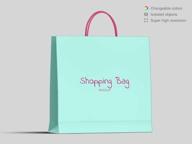 Vista frontal modelo de maquete de saco de papel comercial