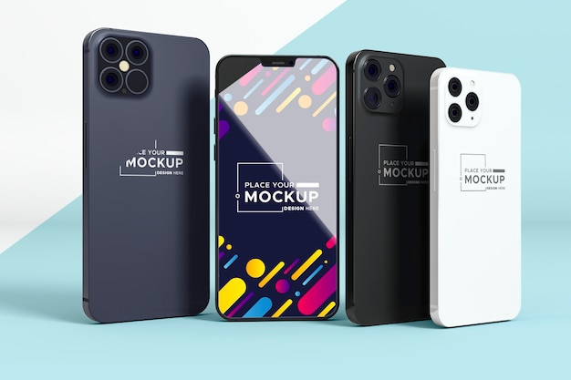 Vista frontal novo modelo de pacote de telefone