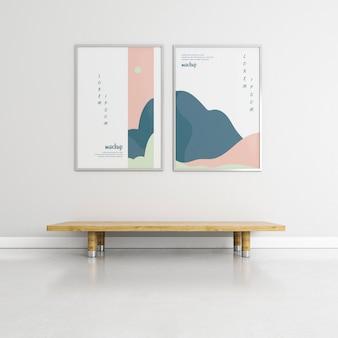 Vista frontal quadros composição mock-up dentro de casa