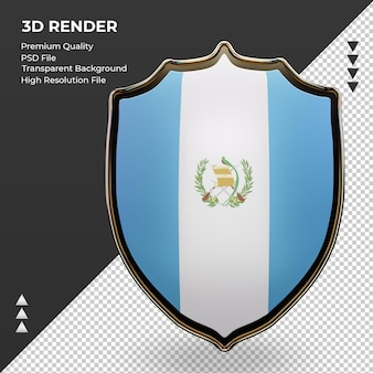 Vista frontal renderizando escudo 3d da bandeira da guatemala