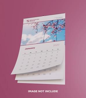 Vista inferior da maquete de calendário de parede