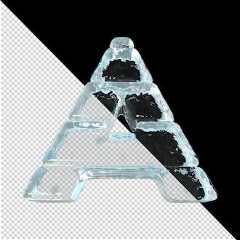 Vista inferior de cartas feitas de lingotes de gelo. 3d letra a