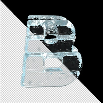 Vista inferior de cartas feitas de lingotes de gelo. 3d letra b