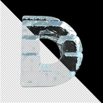 Vista inferior de cartas feitas de lingotes de gelo. 3d letra d