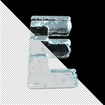 Vista inferior de cartas feitas de lingotes de gelo. 3d letra e