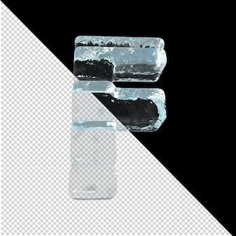 Vista inferior de cartas feitas de lingotes de gelo. 3d letra f