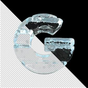 Vista inferior de cartas feitas de lingotes de gelo. 3d letra g