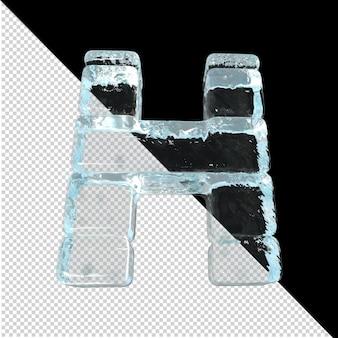 Vista inferior de cartas feitas de lingotes de gelo. 3d letra h