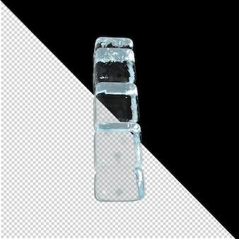 Vista inferior de cartas feitas de lingotes de gelo. 3d letra i