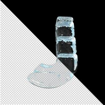 Vista inferior de cartas feitas de lingotes de gelo. 3d letra j