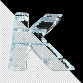 Vista inferior de cartas feitas de lingotes de gelo. 3d letra k