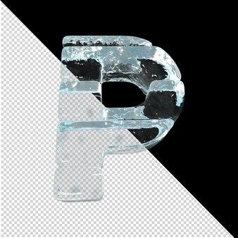 Vista inferior de cartas feitas de lingotes de gelo. 3d letra p