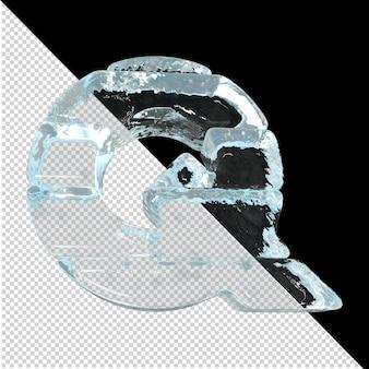 Vista inferior de cartas feitas de lingotes de gelo. 3d letra q