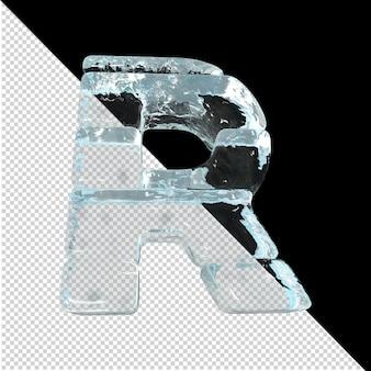 Vista inferior de cartas feitas de lingotes de gelo. 3d letra r