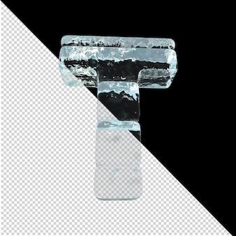 Vista inferior de cartas feitas de lingotes de gelo. 3d letra t