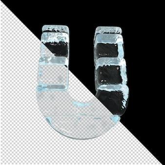 Vista inferior de cartas feitas de lingotes de gelo. 3d letra u