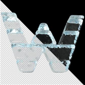 Vista inferior de cartas feitas de lingotes de gelo. 3d letra w