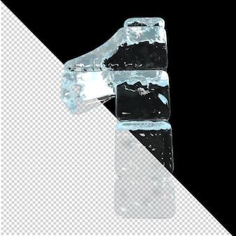 Vista inferior de números feitos de lingotes de gelo. 3d número 1