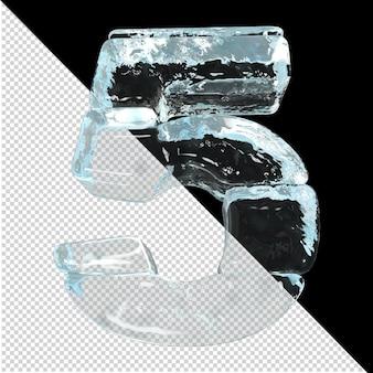 Vista inferior de números feitos de lingotes de gelo. 3d número 5