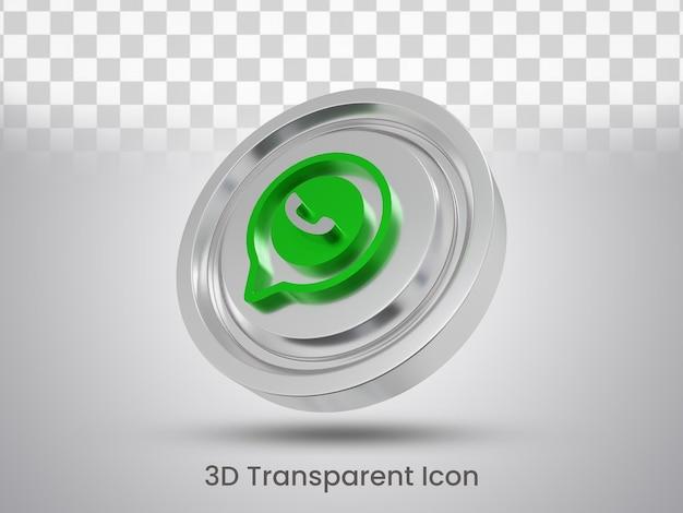 Vista inferior do design do ícone do whatsapp renderizado em 3d