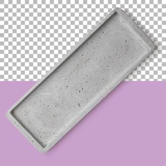 Vista isolada em close da bandeja de concreto vazia