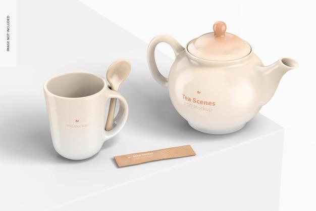 Vista lateral da maquete da cena do chá