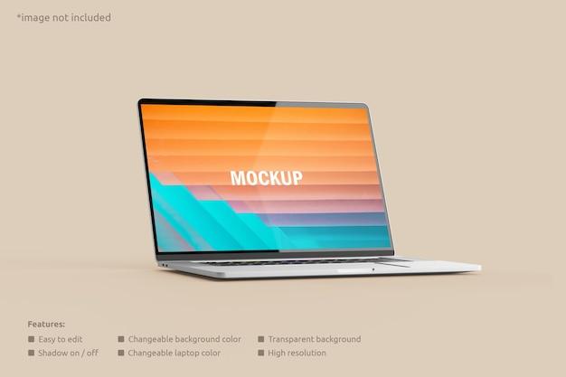 Vista lateral da maquete da tela do laptop