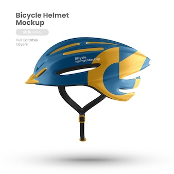 Vista lateral da maquete de capacete de bicicleta premium