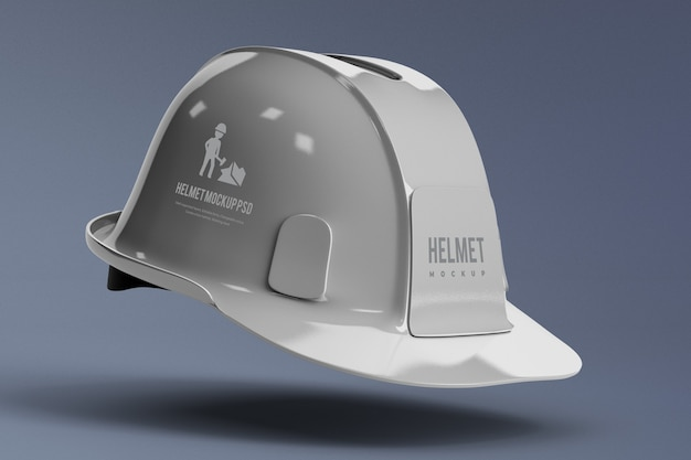 Vista lateral da maquete de capacete de construção isolada