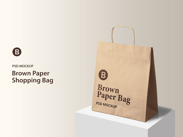 Vista lateral da maquete de sacola de compras de papel